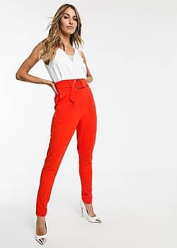 belted tapered trousers-Orange