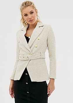 button down tweed belted blazer-Beige
