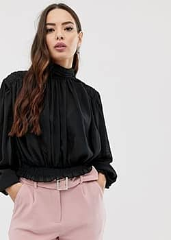 gathered sleeve high neck blouse-Black