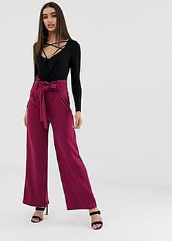 Girl In Mind high waisted paperbag trousers-Purple