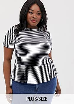 Glamorous relaxed t-shirt with peplum hem in stripe-Navy