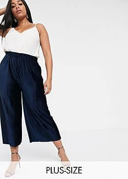 Glamorous relaxed trousers in plisse-Navy