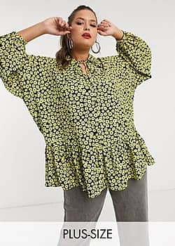 Glamorous smock top with collar and peplum hem in daisy floral-Black