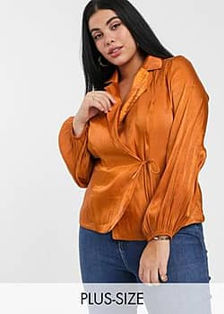tailored blouse with tie front in luxe satin-Brown
