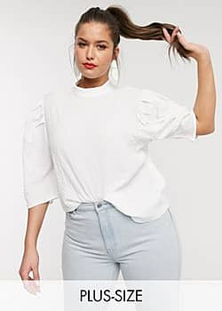 top with puff sleeves in textured fabric-White