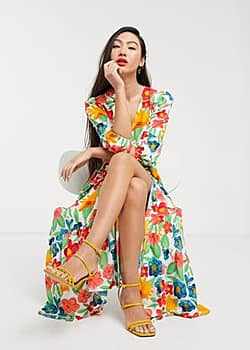 Glamorous midaxi wrap front dress with tiered skirt in bright vintage floral-White
