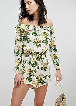 Long Sleeve Crop Top With Off Shoulder Ruffle Co-Ord-Multi
