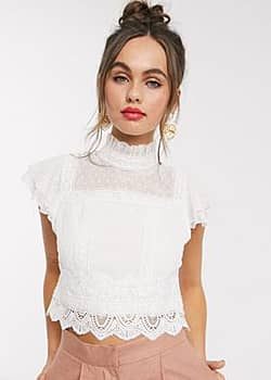 Hope & Ivy lace insert victoriana top in ivory-Cream