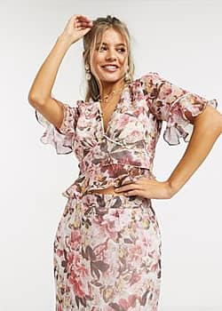 plunge front contrast print blouse in multi floral