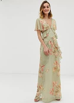 ruffle floaty maxi dress with open back in sage green floral-Multi