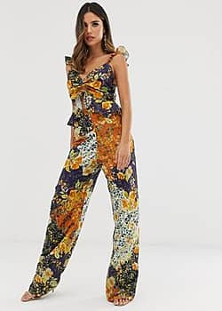 wide leg trouser co-ord in contrast floral print-Multi