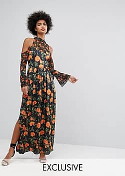 Maxi Dress With Fluted Tie Sleeves In Floral Print-Multi