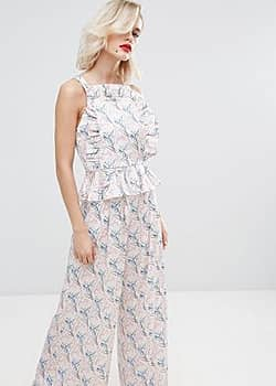 Mini Floral Top with Frill Co Ord-Multi