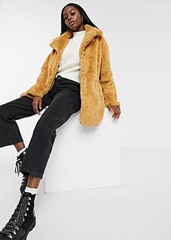 Influence faux fur coat in brown