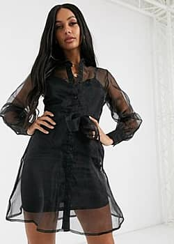 organza shirt dress in black