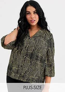 Influence croc print blouse with 3/4 flare sleeve-Multi