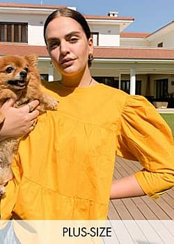 Influence smock top in mustard-Yellow