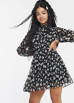 shirt dress with tiered skirt in floral print-Black