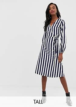 Influence stripe midi dress with button detail-Blue