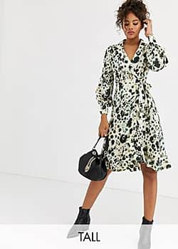 Influence wrap front satin midi dress in abstract leopard print-Multi