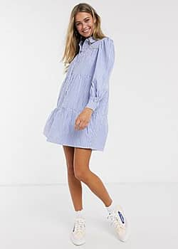 tiered shirt dress in cotton blue stripe