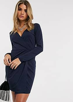 Ivyrevel midi wrap dress in shiny navy