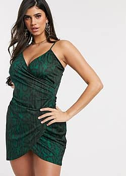 Ivyrevel strappy wrap midi dress in green snake print