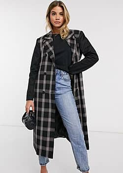Ivyrevel trench coat with tie waist in black check
