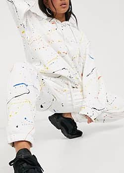 Jaded London relaxed cargo joggers in paint splatter co-ord-White