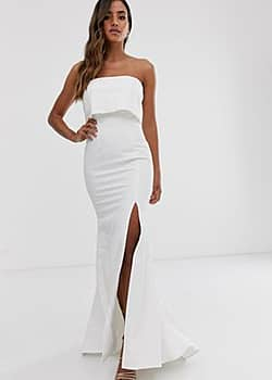 bandeau overlay maxi dress in ivory-White