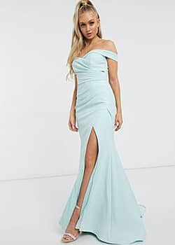 Bridesmaid bardot maxi dress with sweetheart plunge in mint-Green