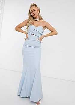Bridesmaid origami bandeau maxi dress in blue