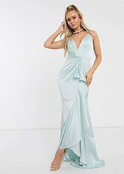 Bridesmaid plunge ruffle maxi dress in mint-Green