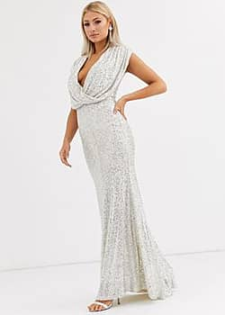 wrap front sequin gown in silver