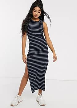 JDY Nevada icon bodycon maxi dress-Navy