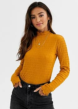 JDY smock long sleeve top with high neck in mustard-Yellow