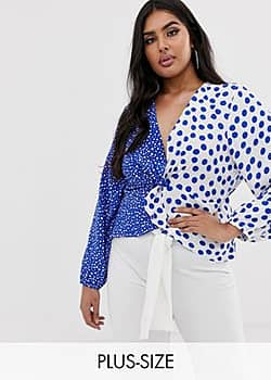 knot front top in contrast blue polka-Multi