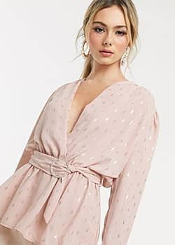 wrap front top with belt detail in pink metallic print