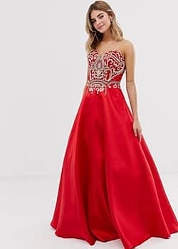 full skirt maxi dress with embellished detail-Red