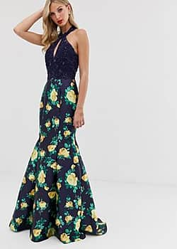 halterneck maxi dress with floral skirt-Navy