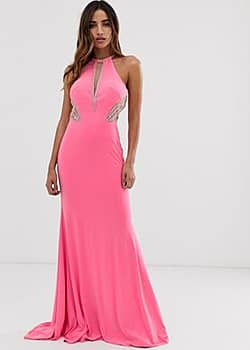 high neck maxi dress with side embellishment-Pink