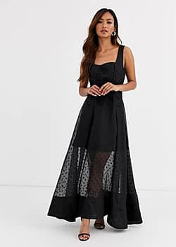 chime embroidered polkadot gown-Black