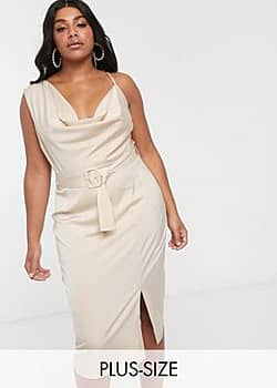 Lavish Alice cowl front midi pencil dress with belt in beige-Cream