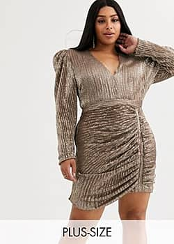 structured sequin mini dress with statement shoulder in gold