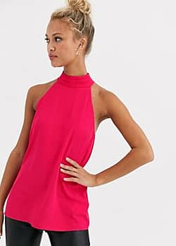 high neck top in pink