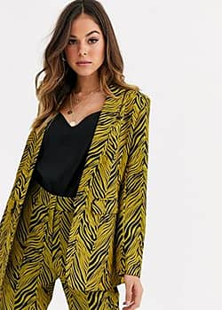 suit blazer co ord in gold and black abstract print-Multi