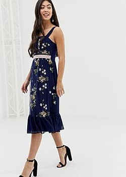 Little Mistress embroidered square neck midi dress with fluted hem in navy multi