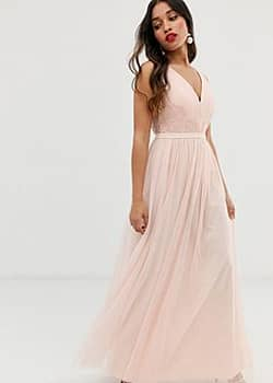 Little Mistress lace back maxi dress in pink-Cream