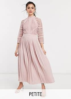 Little Mistress lace detail midaxi dress in blush-Pink