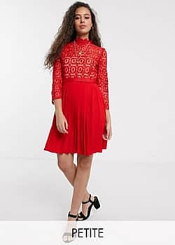 Little Mistress mini length 3/4 sleeve lace dress in tomato red